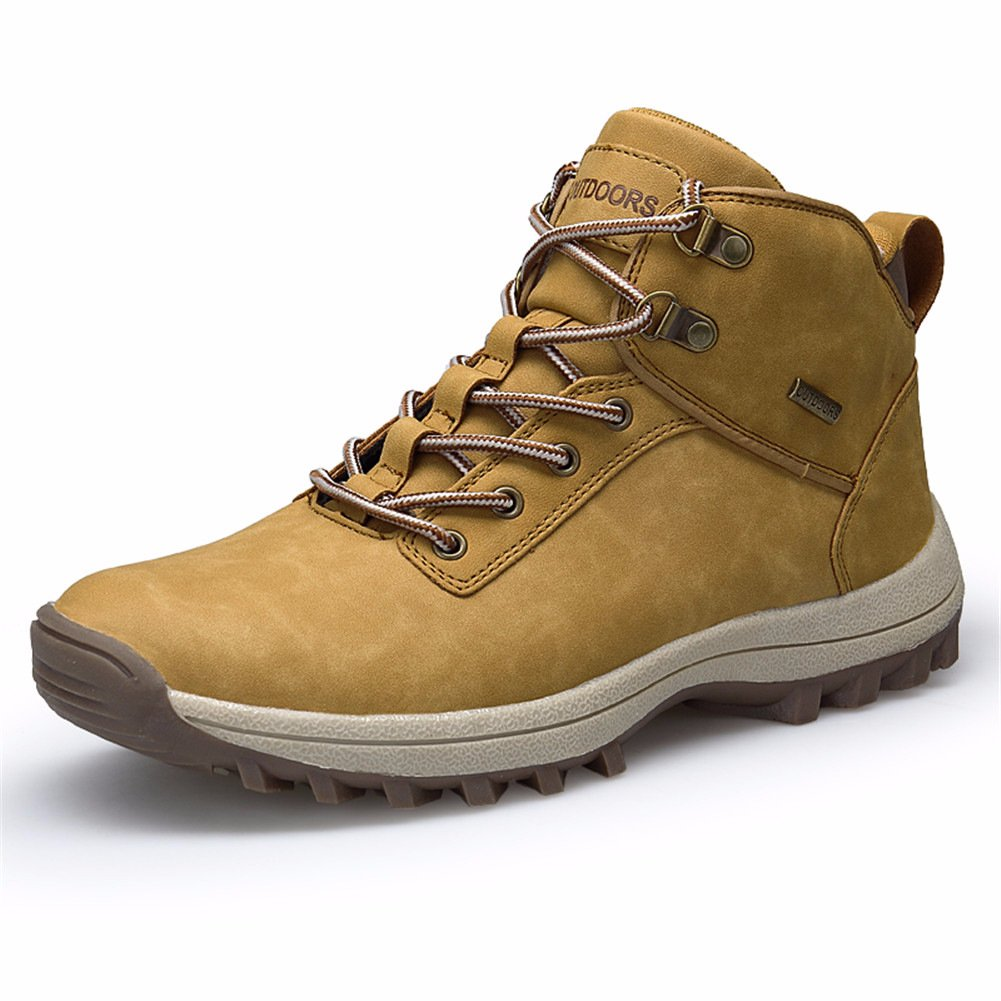 Men's Hiking Boots Leather Waterproof Lightweight Outdoor Shoes Yellow 10.5