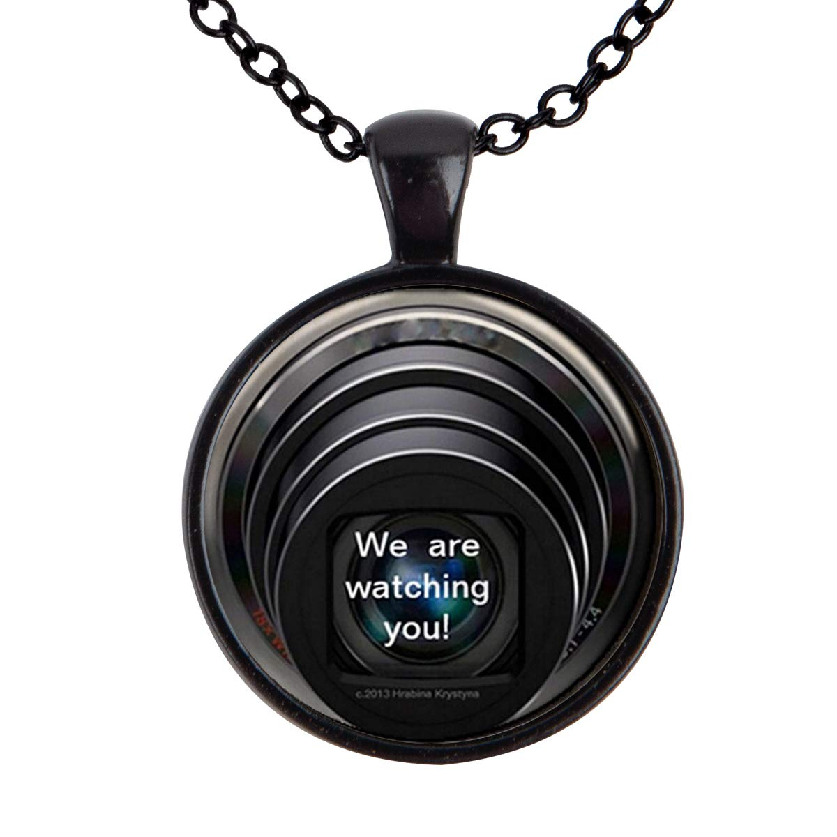 Lightrain We are Watching You Photo Pendant Necklace Vintage Bronze Chain Statement Necklace Handmade Jewelry Gifts