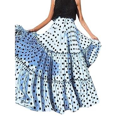 c87a5b7f32072d Women's Plus Size Maxi Skirt  Fashion High Waist Polka Dot Print Skirts  Ruffled  Pleated