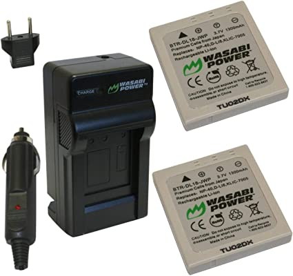 Wasabi Power Battery (2-Pack) and Charger for Pentax D-LI8, D-LI85, D-L18 and Pentax Optio A10, A20, A30, A36, A40, E65, L20, S, S4, S4i, S5i, S5n, ...