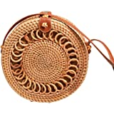 Awhao Handwoven Round Handbag for Women Straw Basket Pouch with PU Leather Strap