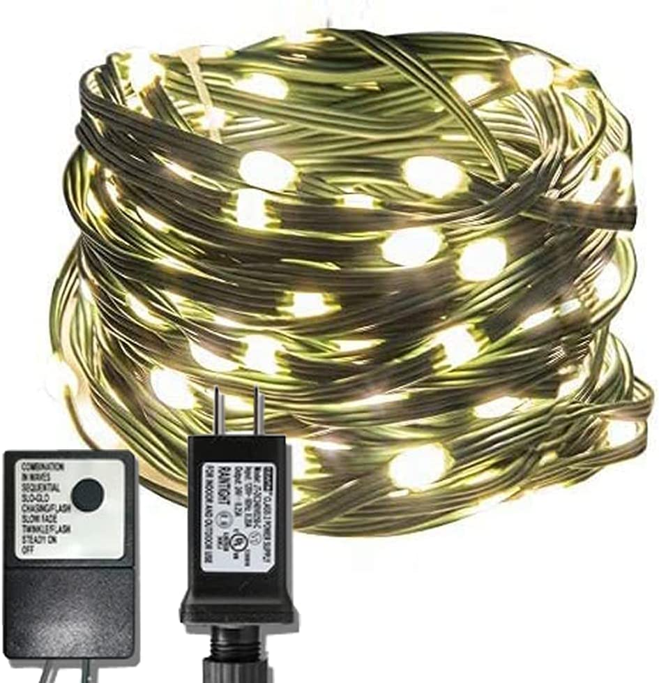 EAMBRITE 150LT 49FT Heavy Duty Micro LED String Lights Plug-in Warm White 8 Modes with Controller UL Adapter Wire Waterproof for Home Decor Christmas Tree Party Patio