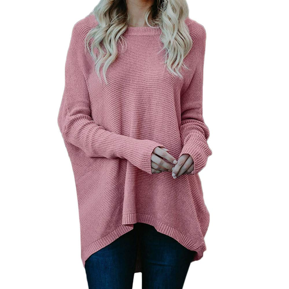 SMALLE ◕‿◕ Clearance,Pullover for Women, Sweater Casual O-Neck Knitted Loose Long Sleeve Pullover Blouse