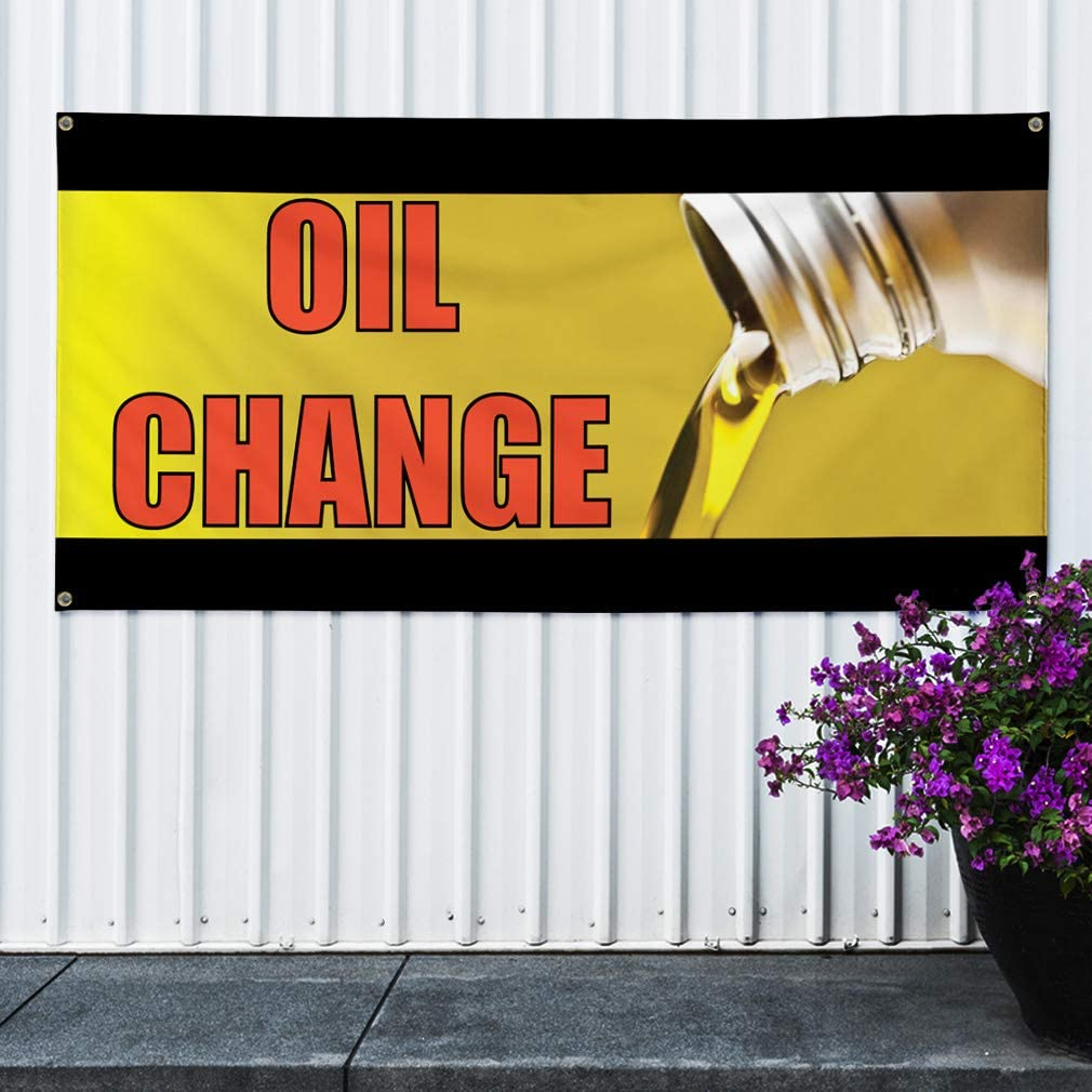 One Banner Multiple Sizes Available 44inx110in 8 Grommets Vinyl Banner Sign Oil Change #1 Style C Business Outdoor Marketing Advertising Yellow