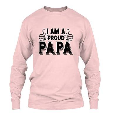 0de482ba3 Amazon.com: Proud Papa T Shirt Design, Long Sleeve Shirt: Clothing