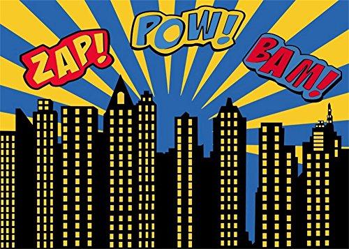 (Leowefowa 7X5FT Super Cityscape Backdrop Boy's Happy Birthday Backdrops for Photography ZAP POW BAM Building House Yellow Rays Cartoon Vinyl Photo Background Kids Party Studio)