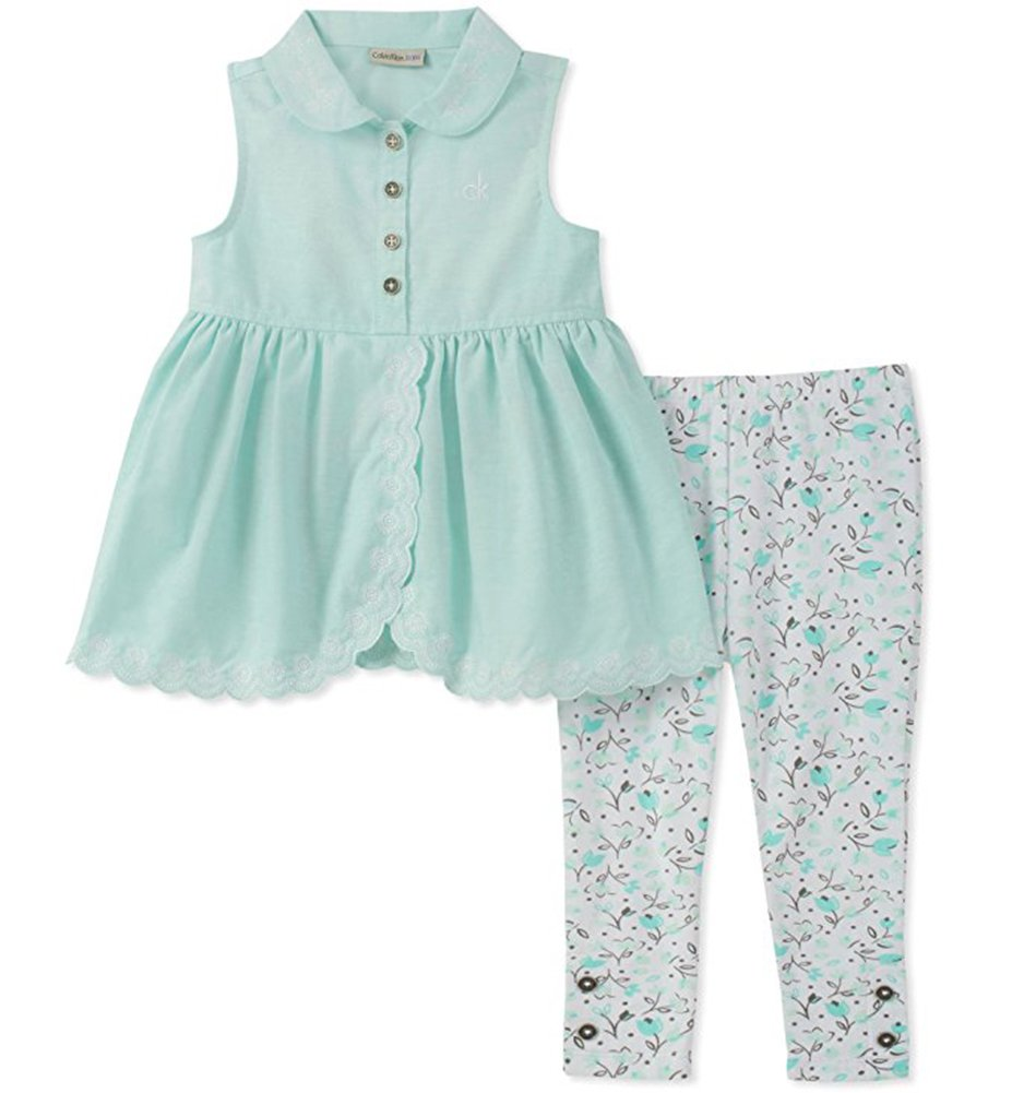.Calvin Klein. Girls' Blue Tunic Two-Piece Legging Set (3T)