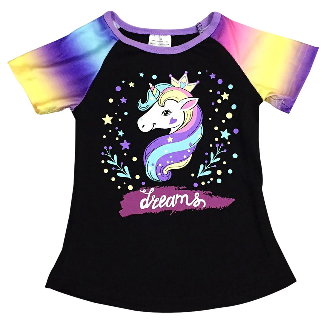 Dreamer P Big Girls' Short Sleeve Rainbow Sleeve Unicorn Party Summer Top T Shirt Tee Black 8 XXXL (P201487P)