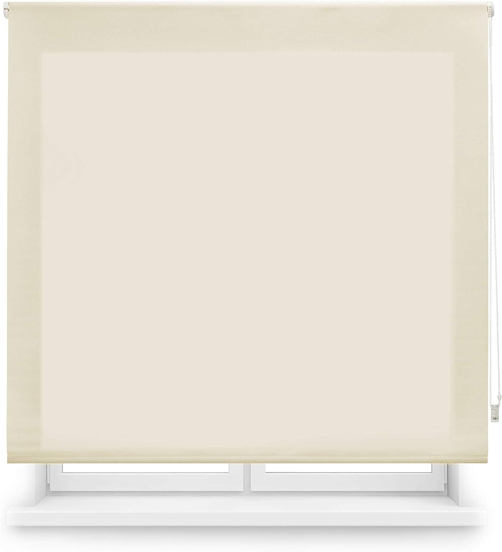 Blindecor Ara - Estor enrollable translúcido liso, Beige, 160 x 175 cm (ancho x alto)
