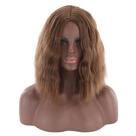Remeehi Fake Bob peluca rizado ondulado de pelo corto Bob Pelucas Para Mujeres Resistente al calor