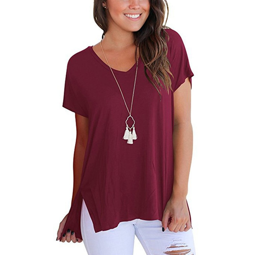 Awine Red FISOUL Women Tops Short Sleeve V Neck Tee Loose Fit Shirt Casual Basic Side Slits Shirts