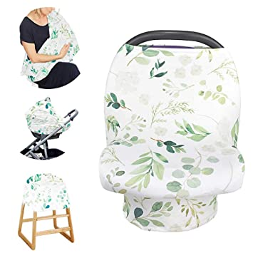 Green Leaf Multi-Use Nursing Cover Baby Car Seat Canopy Shopping Cart Stroller Cover Stretchy Ultra Soft Infant Breastfeeding and Infinity Scarf Gift for New Mum