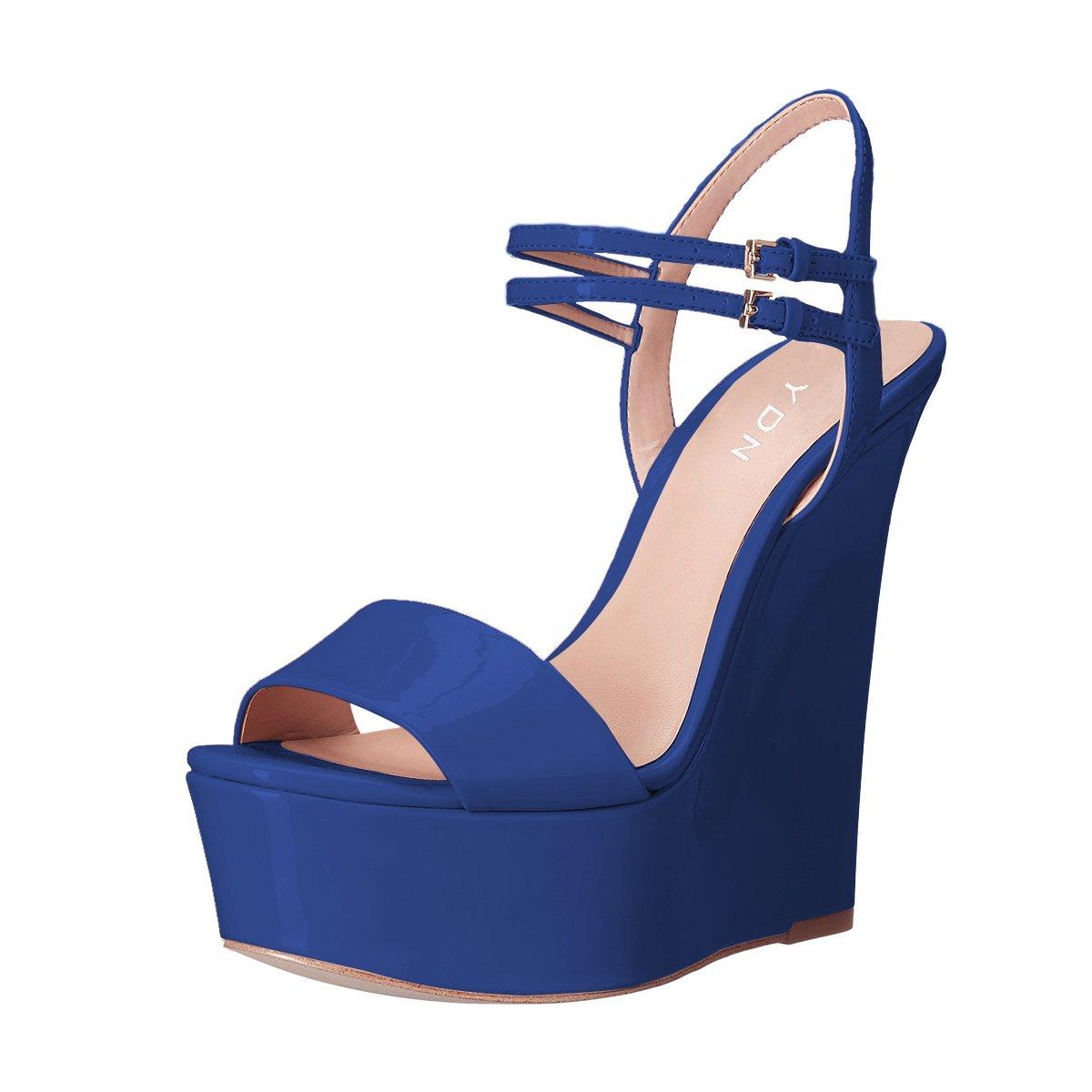 YDN Women Peep Toe High Heel Wedge Sandals Ankle Straps Platform Pumps Slingback Shoes B07D6ND9K9 10 B(M) US|Blue