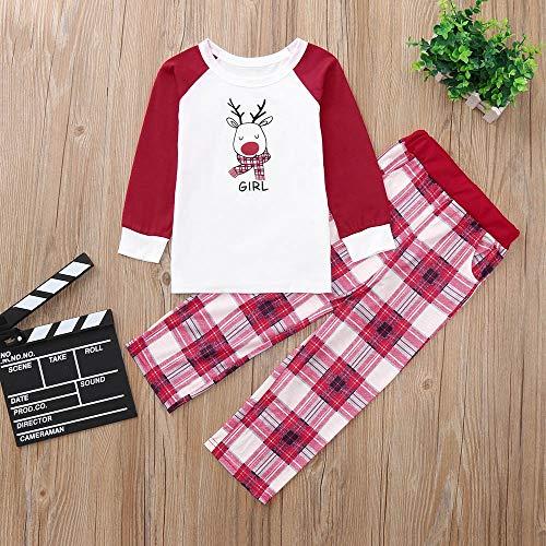 De Niños Ropa Pijamas Madre Blanco Navidad Padre Manga Bebé Conjunto gnFwB