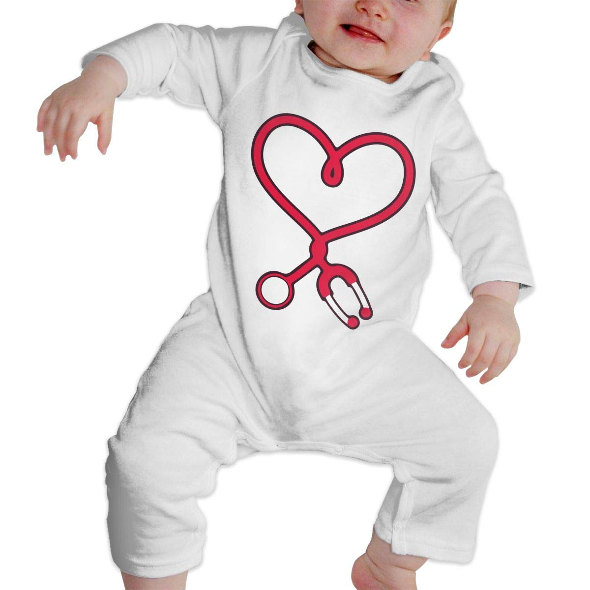 A1BY-5US Newborn Infant Baby Girls Boys Romper Jumpsuit Nurse Heart Stethoscope Cotton Long Sleeve Baby Clothes
