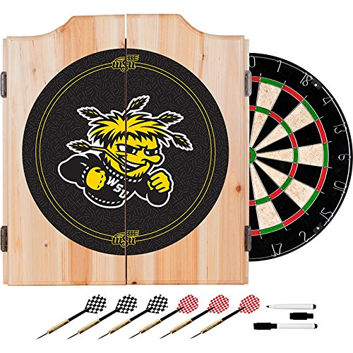 Wichita State University Deluxe Solid Wood Cabinet Complete Dart Set - Officially Licensed! by TMG