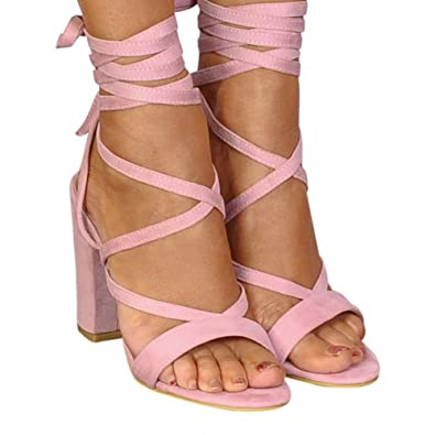 6bbc3d45dda Shoe Closet Ladies Baby Light Pink Lace Ups Wrap Round Strappy Sandals High  Heels UK8