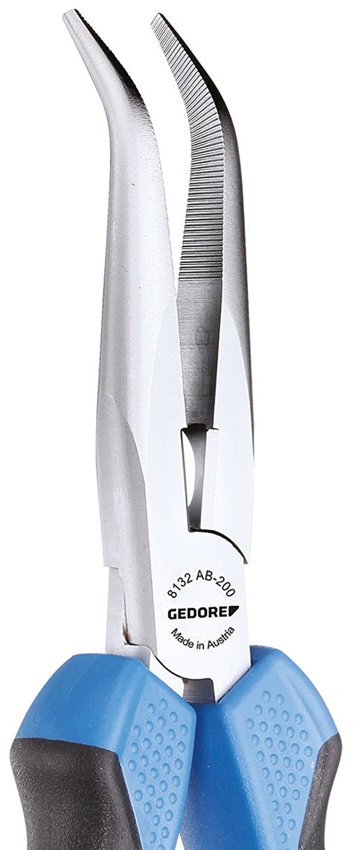 gerade Form GEDORE Flachrundzange 8132-160 JC mit Schneide gezahnt 160mm,2-Komponentengriff