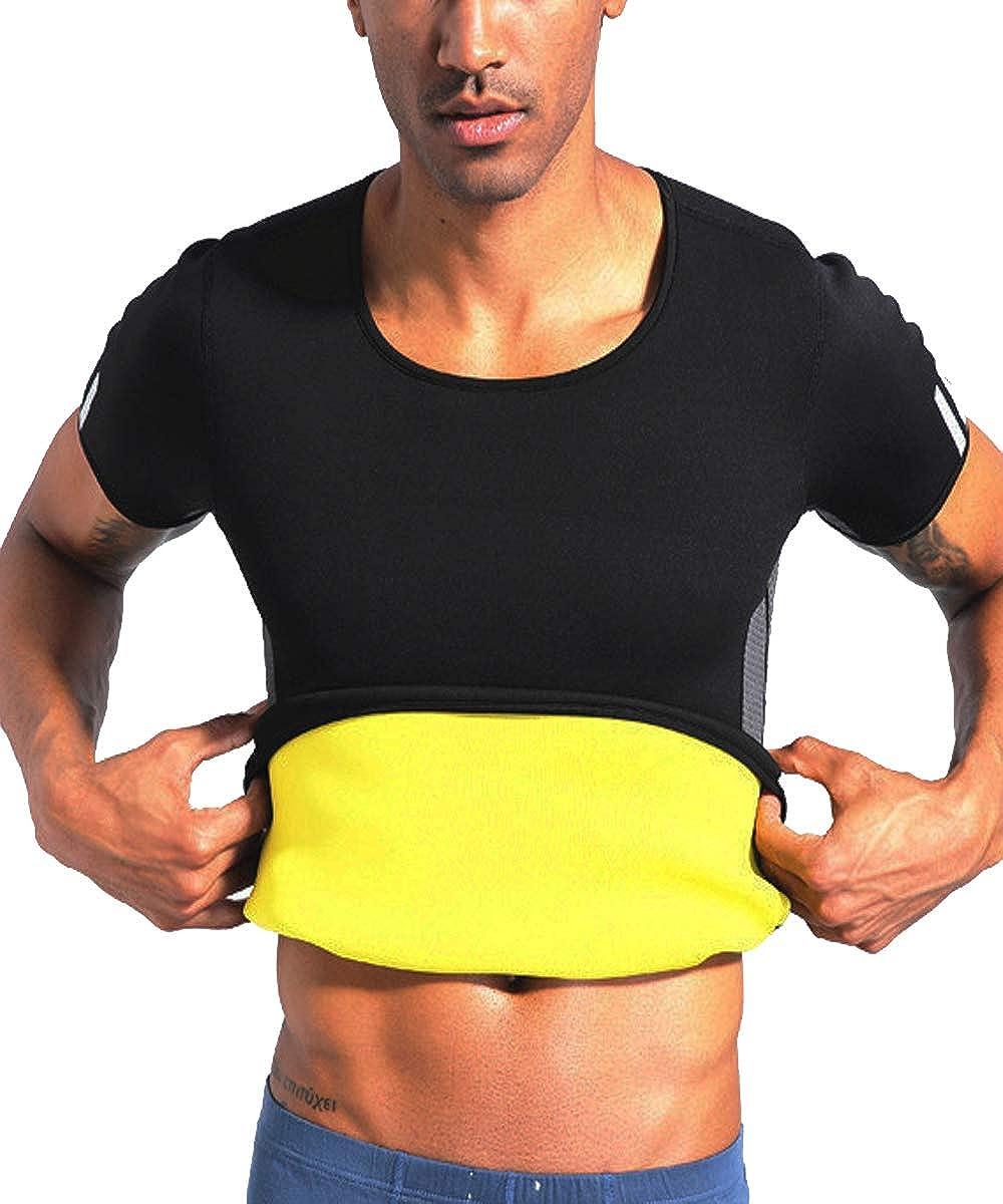 TINGSU Hombres Neopreno P/érdida de Peso Traje de Sauna Camiseta de Entrenamiento de Sudor Caliente Escultor de Cuerpo Quemador de Grasa Fajas para Adelgazar