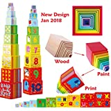 Toys of Wood Oxford Wooden Stacking Boxes Stacking Cubes Rainbow Colour – Wooden Stacking Cups with Number and Alphabet Blocks - wooden stacking toy for 2 years old