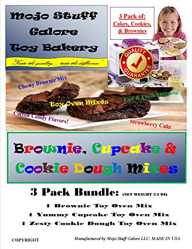 Mojo Stuff Galore Easy Bake Oven Refill/3 Pack Cake Batter, Cookie Dough & Brownie (Refill Dough)