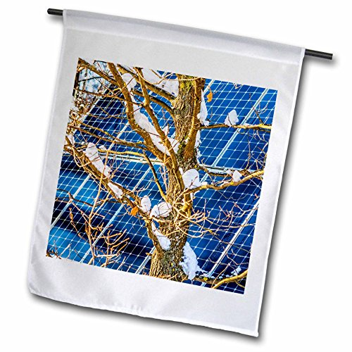 3dRose Alexis Photography - Objects - Young snow covered oak tree and a solar power panel in winter park - 18 x 27 inch Garden Flag (fl_280889_2) -