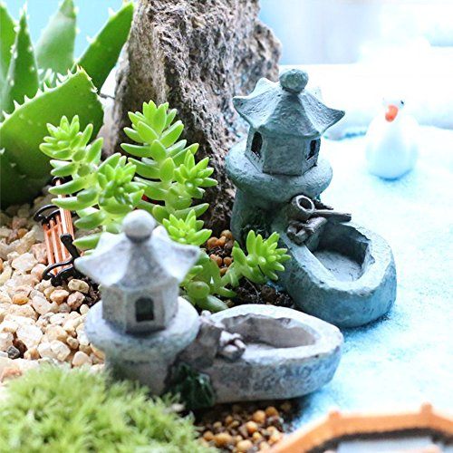 YOEDAF Micro Landscape Miniature Ornaments Mini Retro Pond Tower Craft Fairy Cottage Figurines Toys Pool Resin Decoration for Garden Decor Color Random(4.5x5.5cm)