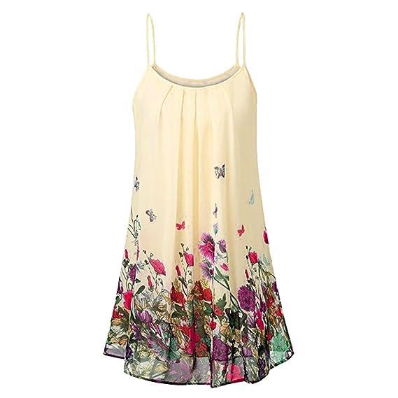 Lenfesh Camiseta con Tirantes Camisa de Plisada de Verano para Mujer Blusa Casual Floral Imprimir Tank Tops sin Mangas: Amazon.es: Ropa y accesorios