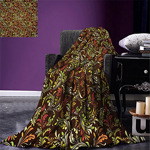 - smallbeefly Earth Tones Digital Printing Blanket Antique Scroll Pattern with Royal Theme and Classical Details Curly Leaf Motifs Summer Quilt Comforter Multicolor