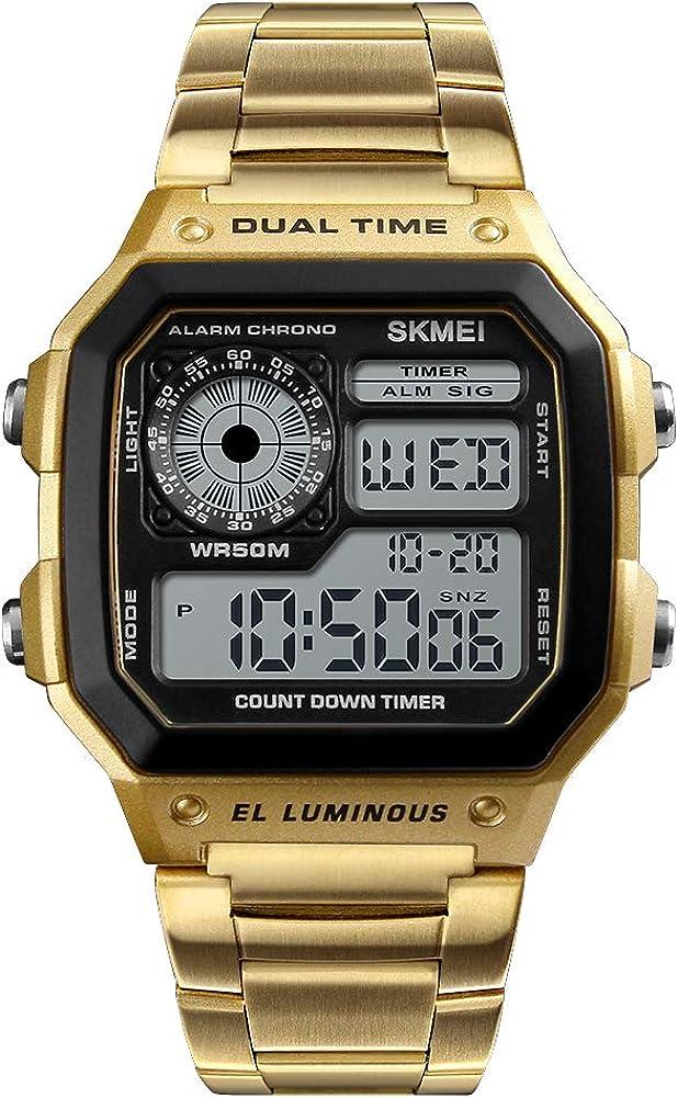 Relojes Digitales Hombre,Reloj de analógico de Negocios único para Hombres Cronógrafo de Acero Inoxidable Resistente al Agua
