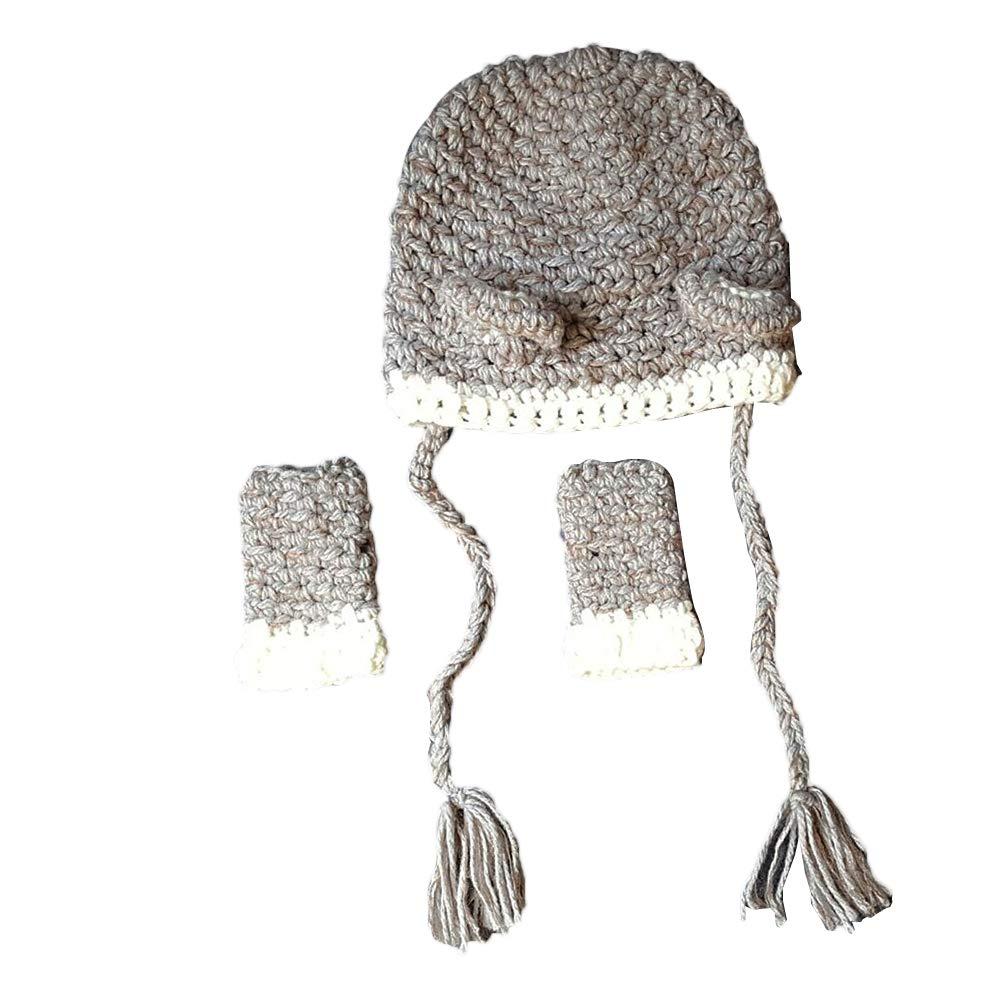 BESTOYARD Cute Bear Hat Glove Set Animals Caps Neck Warmer Wrap Wool Knitted Beanie Gloves for Children Kids