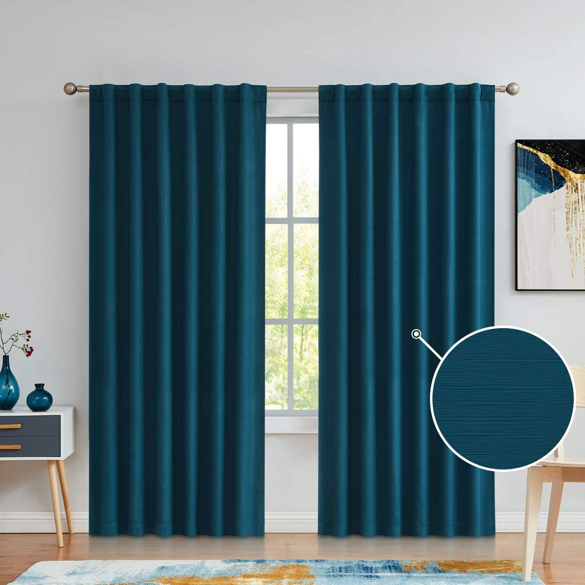Back Tab Rod Pocket Blackout Curtains 95 Inches Long, Embossed Textured Room Darkening Wide Window Drapes for Bedroom and Living Room, Teal Blue, 52×95, 2 Panels