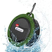 Build Excellent® Waterproof Wireless Bluetooth Speaker Stereo,IP X5 Waterproof Shockproof Bluetooth 3.0 Rugged Soundbar for Outdoor Shower with 5W Speaker/FM/Hands-free Speakerphone/TF Card Reading