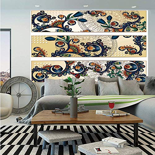 SoSung Batik Decor Huge Photo Wall Mural,Paisley Background in a Fragmented Flat Design with Folkloric Properties Vintage Art,Self-Adhesive Large Wallpaper for Home Decor 108x152 inches,Multi