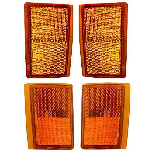 DAT 4 Piece Amber Light Set Upper & Lower Signal Side Marker Reflector Lights for Chevrolet Pickup Truck SUV With Composite Headlamps Style (Amber Tail Light Cap)