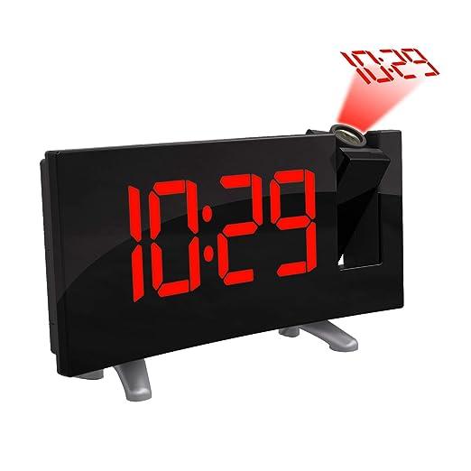 AOZBZ Proyección Techo Reloj de Pared Proyector Digital Radio ...