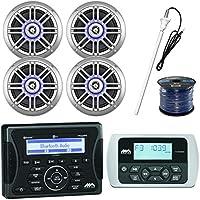 Audio Combo: Jensen Marine Audio Bluetooth USB Stereo Receiver, 4 x Millenia 6.5 150Watt Outdoor Silver Speaker, Jensen Remote Control, Antenna, Enrock 50 Foot 16-Gauge Speaker Wire