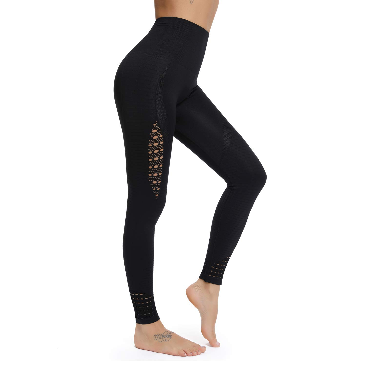 2 Black RIOJOY Yoga Pants for Women Hollow Out Elastic Waist Tummy Control Stretchy Pants Fitness Leggings Gym Compression Sports Tights