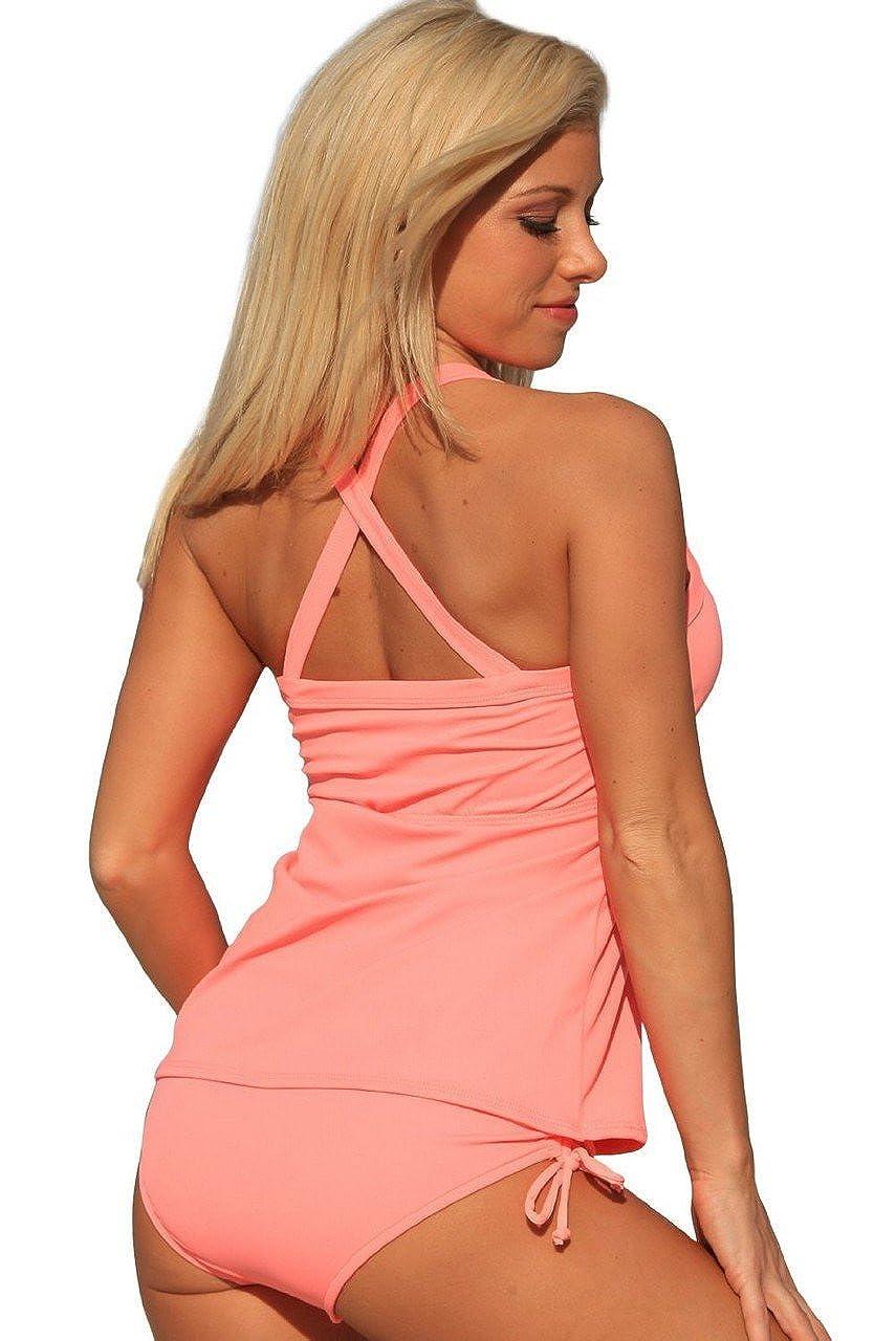 7a95ea6b10416 UjENA Coral Full Figure Tankini Plus Swimdress at Amazon Women's Clothing  store: