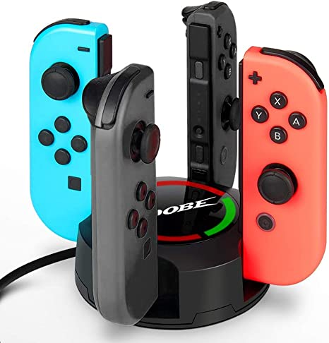 Estación de Carga JoyCons 4 en 1 KINGTOP Cargador Nintendo Switch ...