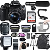 Canon EOS Rebel T6i DSLR Camera with Canon EF-S 18-55mm f/3.5-5.6 is STM Lens + Wide Angle Lens + 2X Telephoto Lens + LED Light + 32GB SD Memory Card + New Video Bundle