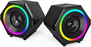 Computer Speakers,NJSJ V-138 10W USB-Powered Gaming Speaker with Enhanced Clear Stereo Sound RGB LED Light,Volume Control,3.5mm Aux-in Wired Multimedia Speaker for PC,Desktop,Laptop,Cellphone
