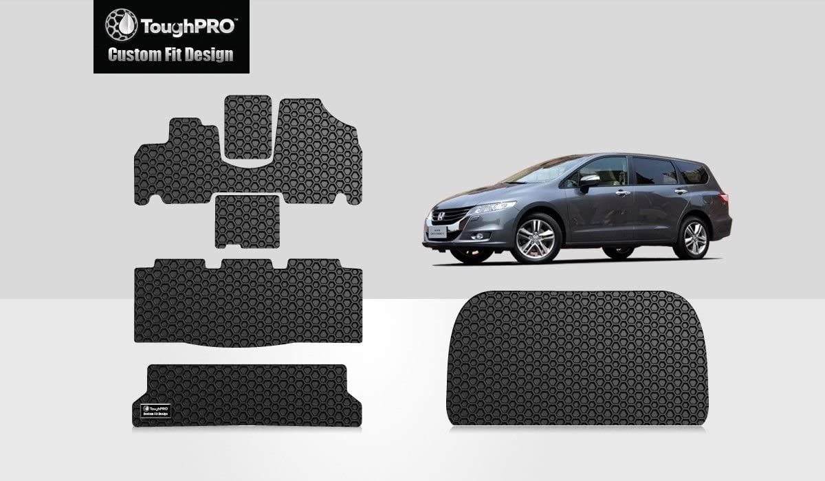 ToughPRO Floor Mats 1st + 2nd + 3rd Row + Cargo Mat Compatible with Honda Odyssey - All Weather - Heavy Duty - (Made in USA) - Black Rubber - 2005, 2006, 2007, 2008, 2009, 2010