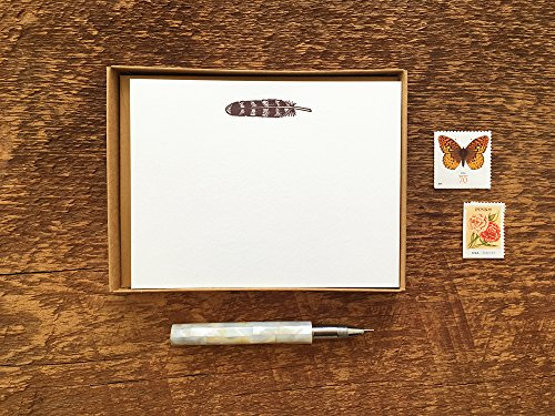 Feather Stationery, Boxed Set of 8 Letterpress Flat Notes, Boxed Stationery