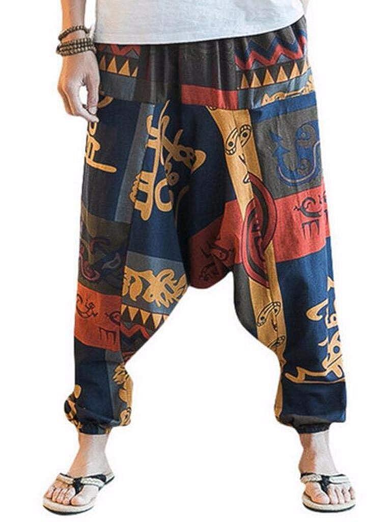 MUST WAY Mens Vintage Cotton Printed Drop Crotch Jogging Capri Loose Harem Pants