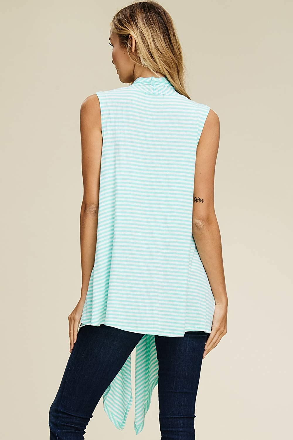 Annabelle Womens Draped Vest Knit Sleeveless Cardigan with Side Pockets