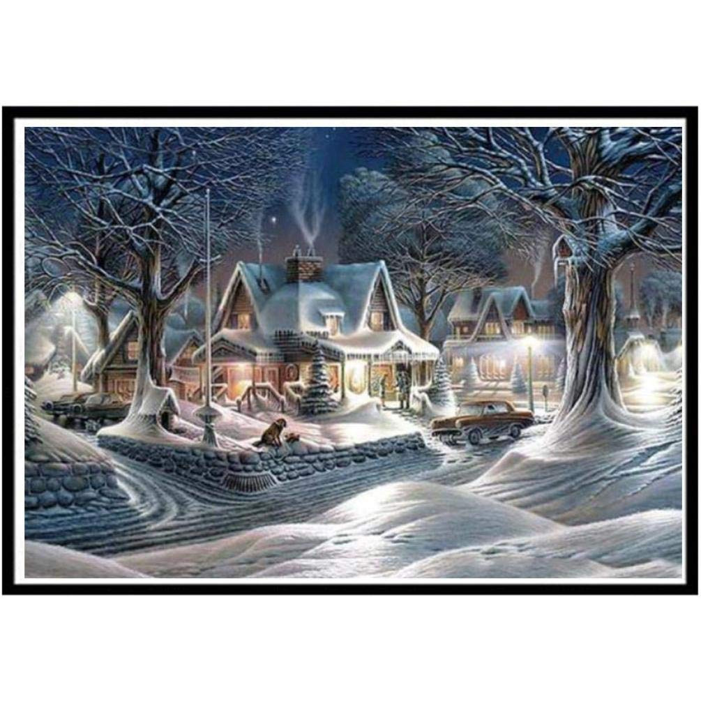 DIY 5D Diamond Painting,Dartphew Beautiful snow night with cars & dogs - Crafts & Sewing Cross Stitch,Wall Stickers for Home Living Room Decoration(Snow,Size:40x30cm)