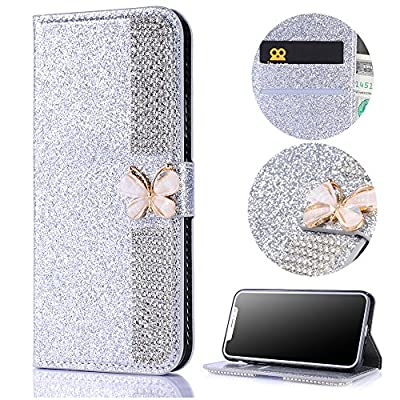 Stysen Wallet Case for Huawei Mate 10 Lite,Bling Purple Bookstyle with Strass Butterfly Bowknot Buckle Protective Wallet Case Cover for Huawei Mate 10 Lite-Diamond,Purple
