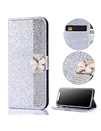 Stysen Wallet Case for Huawei P10 Lite,Glitter Flip Case for Huawei P10 Lite,3D DIY Handmade Shiny Bling Sparkle Diamond Rhinestone Pattern Silver Pu Leather Soft Inner Folio Magnetic Closure Bookstyle Card Slots Pouch with Strass Butterfly Bowknot Buckle and Stand Function Luxury Fashinable Elegant Protective Wallet Case Cover for Huawei P10 Lite-Diamond,Silver