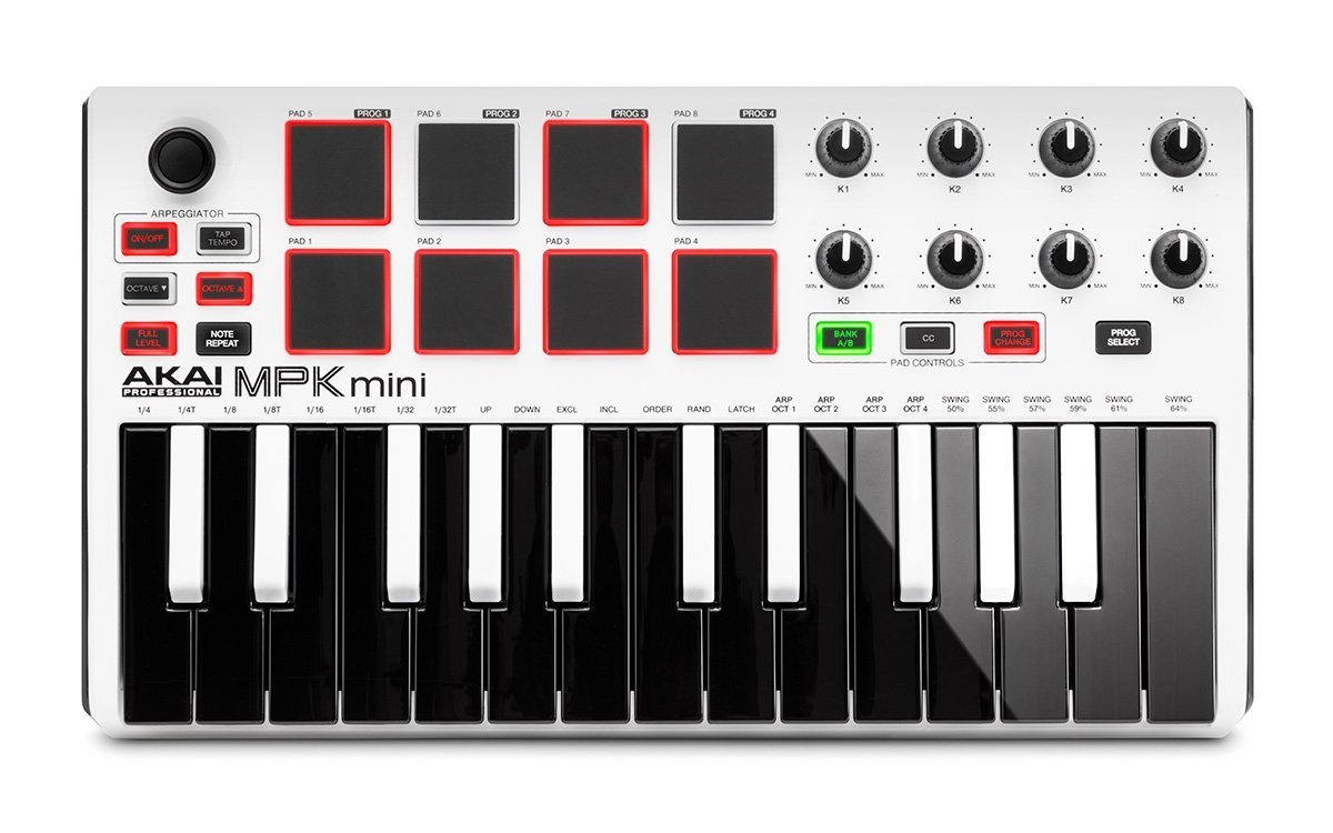 Akai Professional MPK MINI MK2 MKII | 25-Key Ultra-Portable USB MIDI Drum Pad & Keyboard Controller (White)+ 4-Port USB 2.0 Hub + High Speed USB Extension Cable + Clean Cloth by Akai (Image #6)